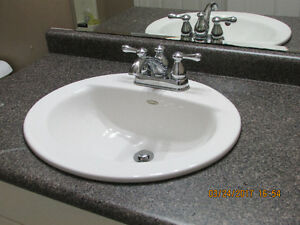 Bathroom sink, faucet and counter