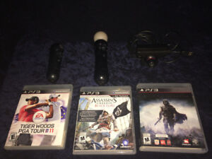 PS3 Move Bundle (Camera + controller  + wand) +3 ps3 games!