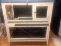 Indoor Double Tier Hutch for Rabbit/Guinea Pig/Fett