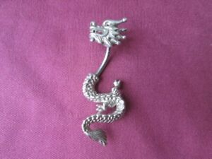 Sterling silver dragon navel ring