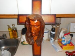 HAND MADE LEATHER CRUCIFIX SCULPTURE FROM CUBA