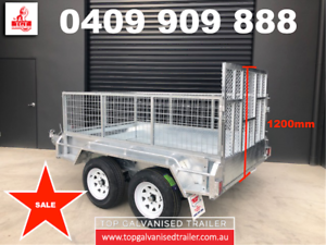 8x5 RAMP BOX TRAILER HOT DIP GALVANISED WITH 600MM CAGE