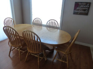 Oak dining room suite, 6 chairs, 2 leafs