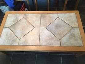 Solid oak and tile coffee table