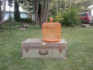Plant stand, birdcage, trunk