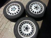 BMW E36 3 Series THREE Rims 2 Different Styles with bad tires Wa