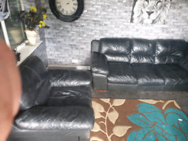 🔥luxury Black dfs®️ large 3 seater & armchair with electric reclyning
