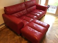 DFS Leather 3 piece suite - red