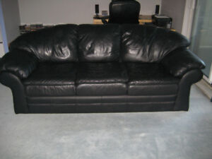 Black Leather Sofa, decent condition, from a very clean condo