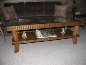 COFFEE TABLE,  TWO END TABLES AND LAMPS