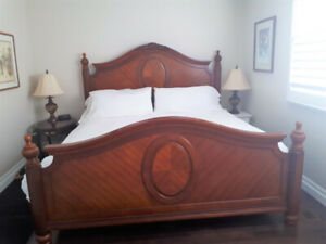 Outstanding Wood King Bed Headboard Footboard and Rails