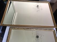 2 Gold framed mirrors