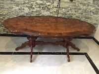 Beautiful Italian Gloss Mahogany Inlaid Dining Table with Carved Legs - For 6 People