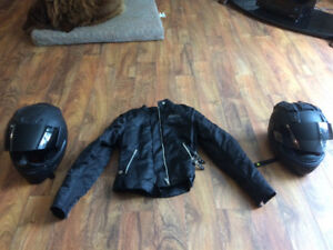 Ladies Small Motorcycle Jacket and LARGE+MED helmets