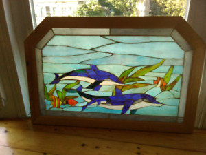 Dolphin stained glass picture