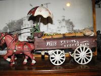 Chevaux et Wagon en Fonte