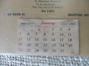 1969 HARDWARE CALENDER COMPLETE Kitchener / Waterloo Kitchener Area image 2