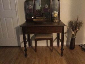 Antique Vanity (maple?) and antique stool