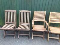 Four Teak Garden Chairs For Sale