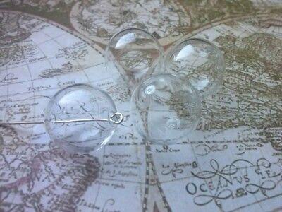 6 klare Hohlperlen aus Glas -20mm-