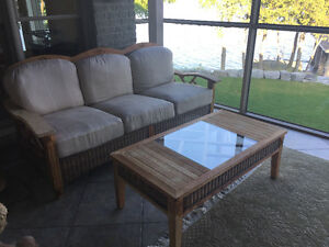 Teak and upholstery sofa and table