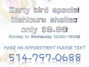 Early Bird special shellac manicure only $9.99 next to Guy metro