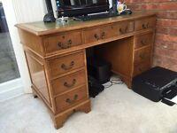 Leather top mahogany pedestal desk