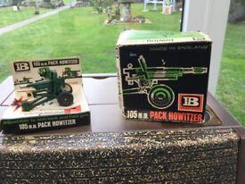 Britains Toys. 1960's/70's. A VERY RARE ITMEM! 105mm Pack Howitzer (RARE Set 9724). AND ORIGINAL BOX