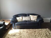 **BARGAIN** Italian Navy Blue Leather Sofas x 2 WC1X