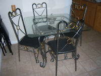Glass Top Wrought Iron Dining Table with 4  Chairs