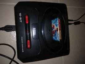 Mega drive 2 bundle. Retro gaming. Sega arcade powerstick 2. 18 games.