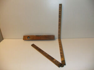 Antique Stanley wooden torpedo level and yard stick