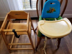 Baby wooden high chair and booster high chair