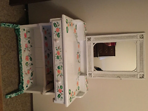 1 drawer solid wood hand painted vanity with mirror