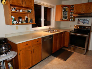 Oak Kitchen Cabinets, Base and Upper, Countertops, Sink & Taps