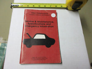 1984 OLDSMOBILE OWNERS MANUAL SUPPLEMENT