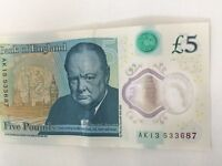 New £5 note serial number AK13
