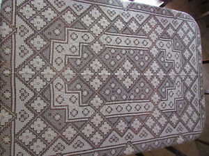 "Antique-Look Handmade Lace Dining Table Cloth 75""x52"" Mint Cond."