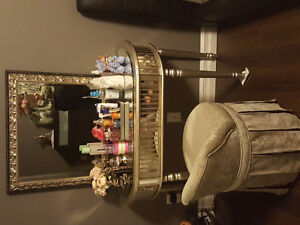 makeup table chair and mirror