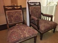 2 Antique Arm Chairs His and Hers; brown wood in amazing condition.