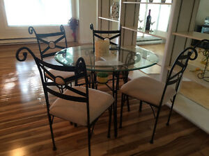 SOLD Glass Top Cast Iron Dining Set