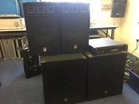 Dj speaker system for sale. Amp, bass etc