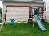 Wooden swing set/ play set with slide
