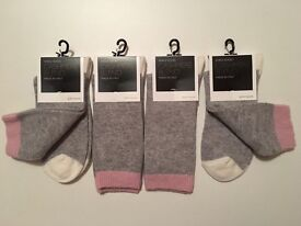 Ladies John Lewis Cashmere Blend Ankle Socks 4 Pairs Made in Italy Comfort Toe Shoe Size 4-8 Grey