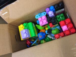 Box of Mega Blox blocks