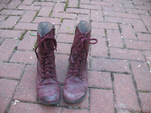 Steve Madden Wine Red Leather Combat Boots