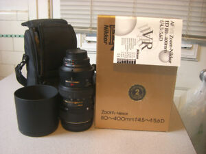 Nikkor 80-400mm AF VR F/4.5-5.6 D Like New with Box and Papers