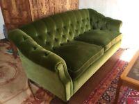 Stunning Green Velvet Handmade 3 Seater Sofa and Armchair