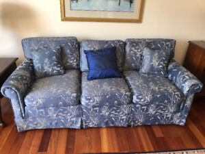 Blue/White Sofa + Chair, Footstool (EXCELLENT CONDITION)