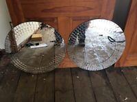 Circular mirrors.